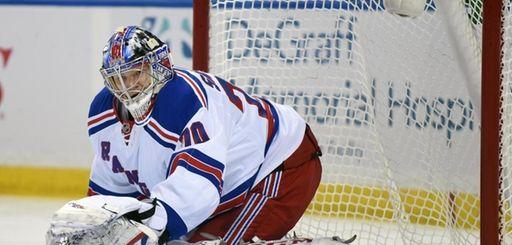 New York Rangers goaltender Mackenzie Skapski makes a