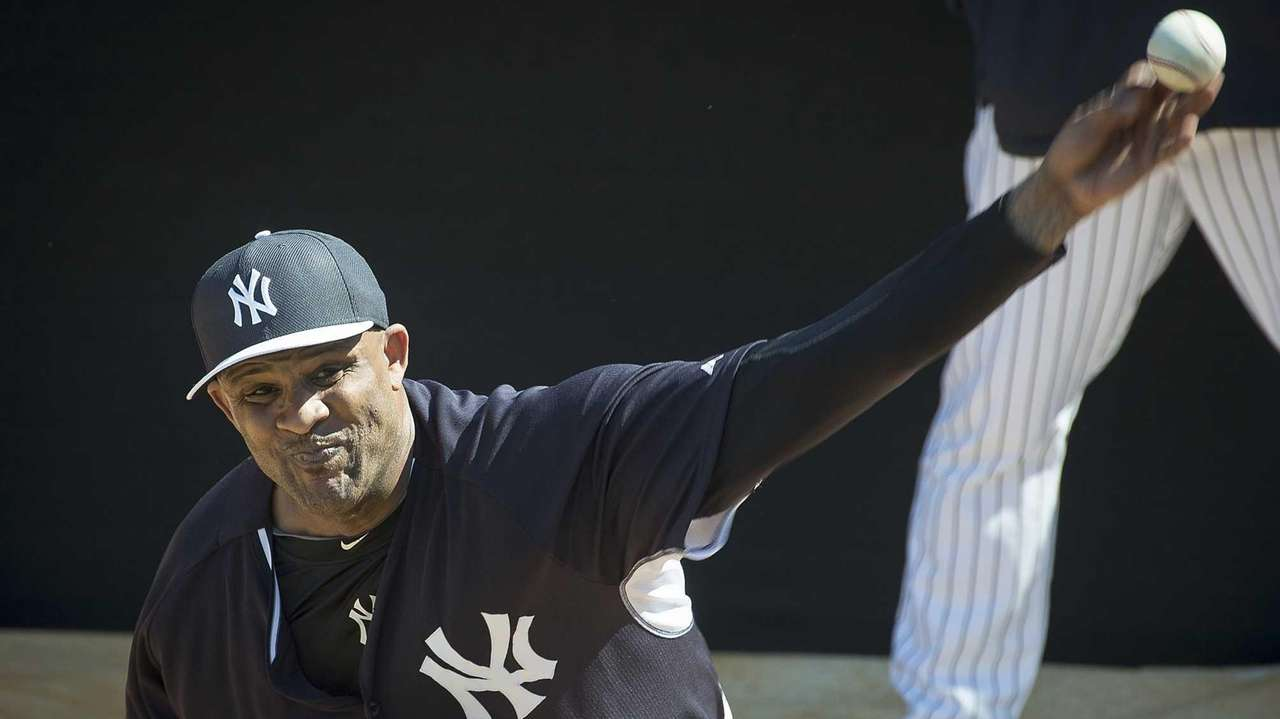 New York Yankees' CC Sabathia throws in the