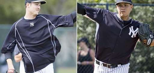 Yankees relievers Andrew Miller, left, and Dellin Betances