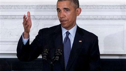 President Barack Obama gestures as he finishes speaking