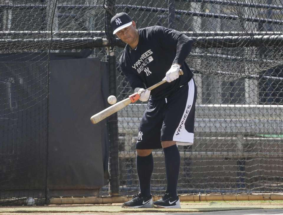 Alex Rodriguez bats at the Yankees' minor league