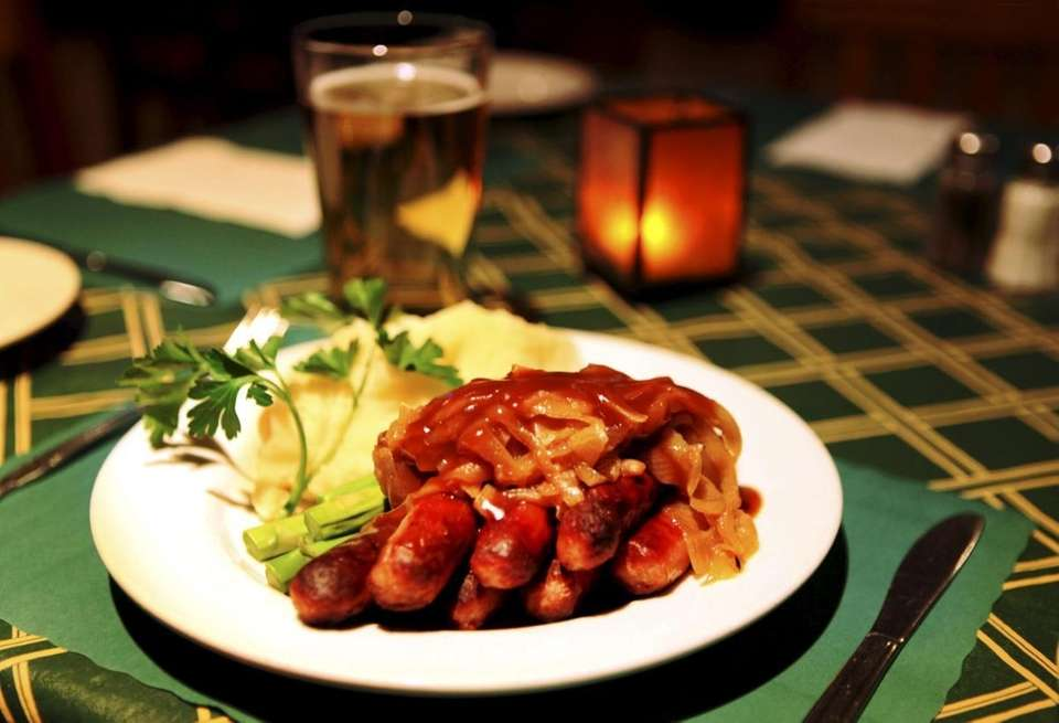 Bangers and mash is served at Jackie Reilly's