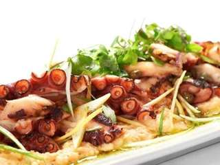 Grilled octopus with hummus, capers and red onion