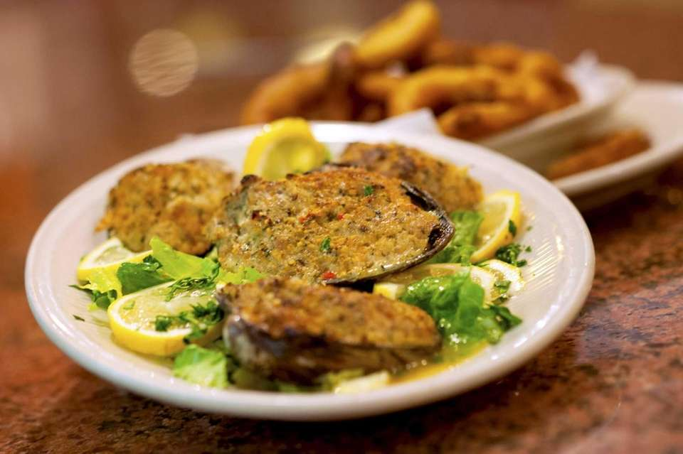 Stuffed clams are served at the Embassy Diner,