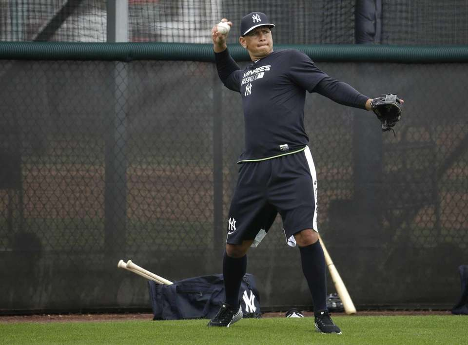 The Yankees' Alex Rodriguez does drills during a