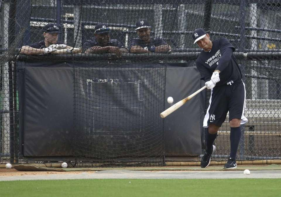 The Yankees' Alex Rodriguez bats during a spring