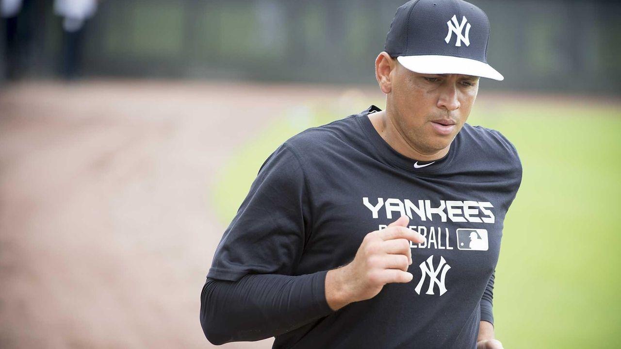 The Yankees' Alex Rodriguez runs wind sprints after