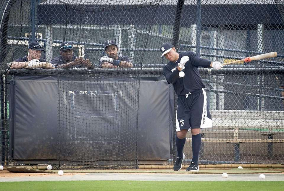 The Yankees' Alex Rodriguez takes batting practice at
