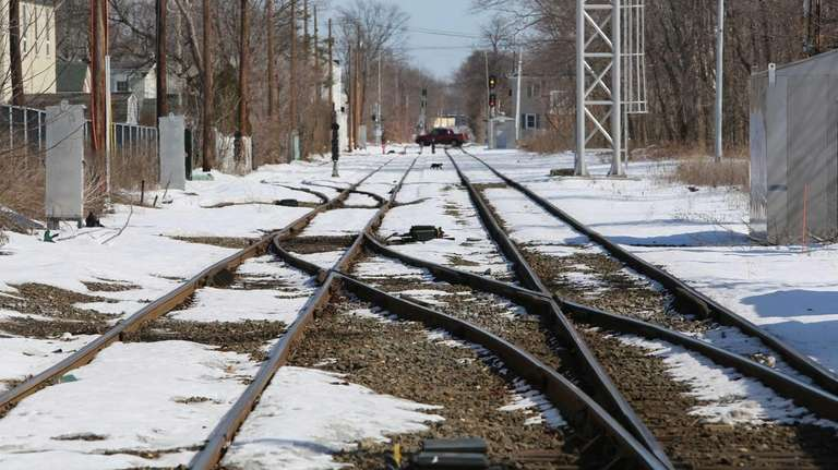 Train tracks are pictured east of the Patchogue
