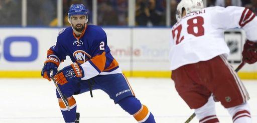 Nick Leddy of the New York Islanders defends