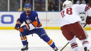 Nick Leddy of the New York Islanders defends