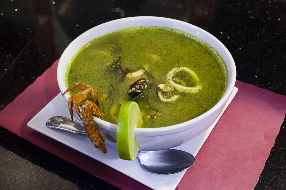 Aguadito de Mariscos, a Peruvian green seafood soup