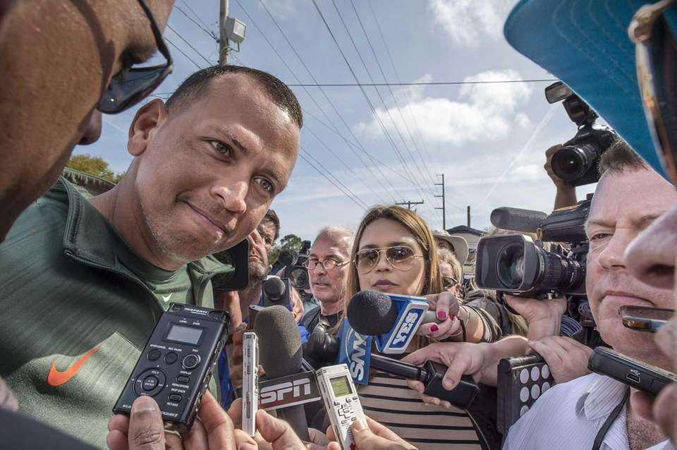 New York Yankees third baseman Alex Rodriguez speaks