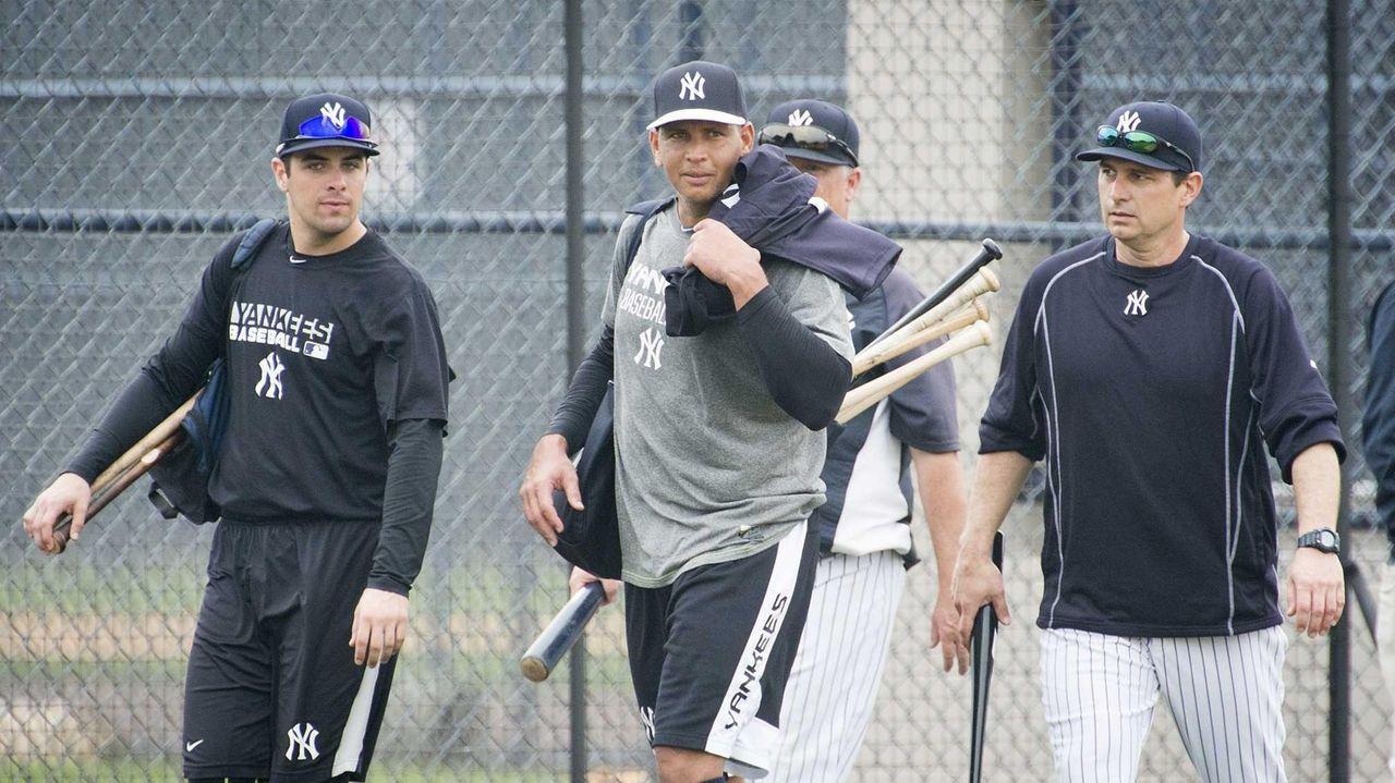New York Yankees third baseman Alex Rodriguez, right,
