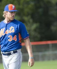 New York Mets pitcher Noah Syndergaard is seen