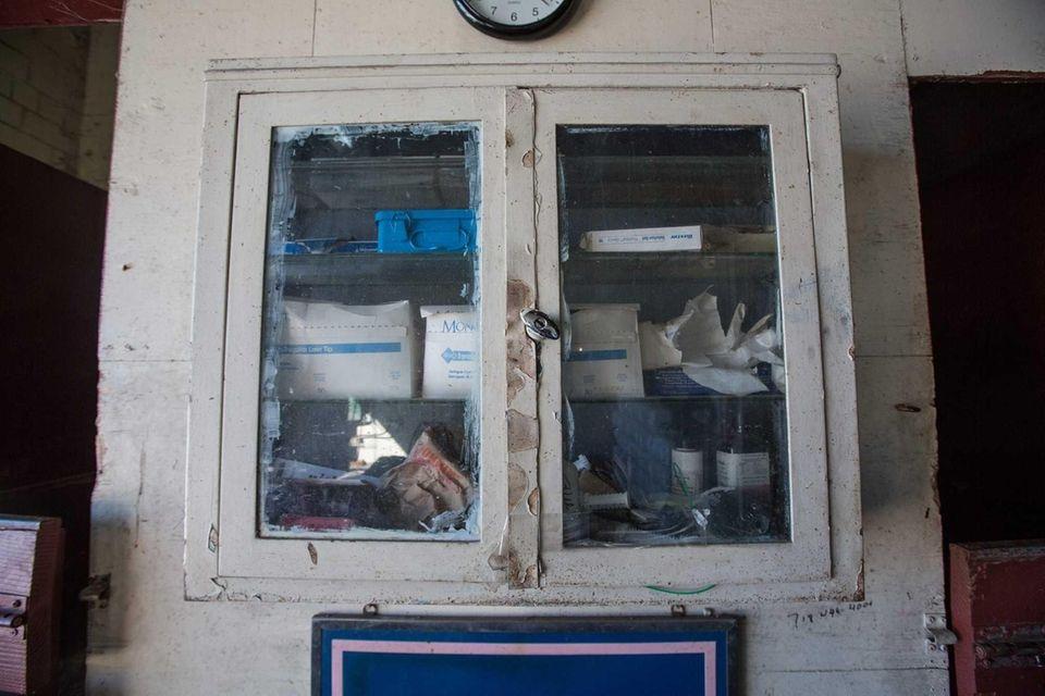A medical cabinet at the Vetport Animal Hospital