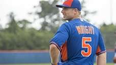 Mets third baseman David Wright waits for batting