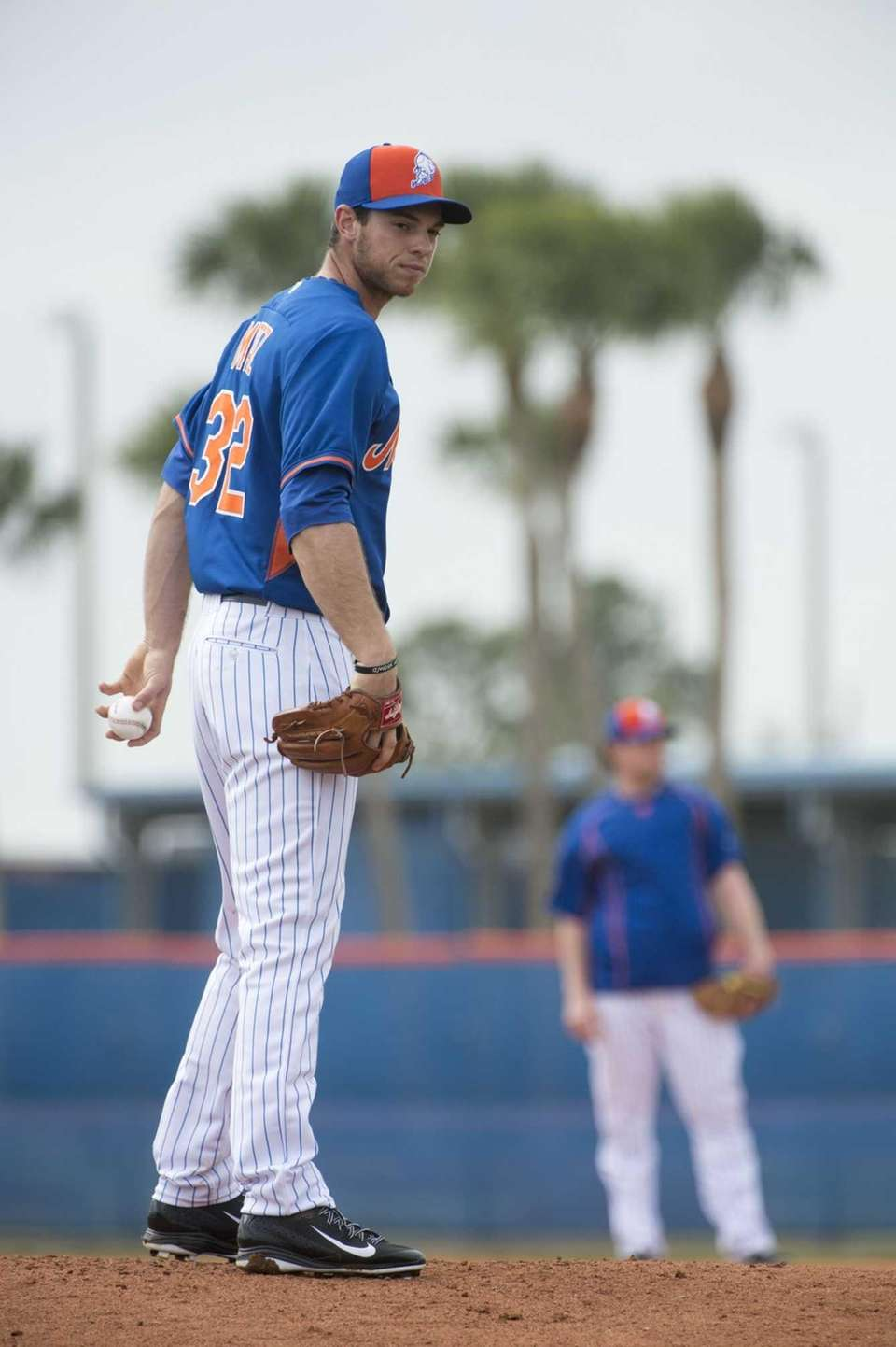 Mets pitcher Steven Matz practices pitching drills during