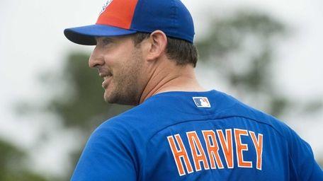 Mets pitcher Matt Harvey after facing live batters