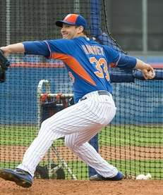 Mets pitcher Matt Harvey faces hitters during a