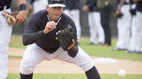 Yankees third baseman Alex Rodriguez takes part in