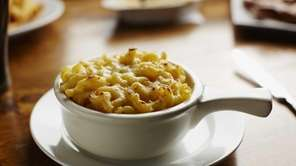 Macaroni and cheese, presented in a small casserole