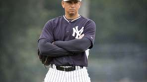 Yankees third baseman Alex Rodriguez at third base