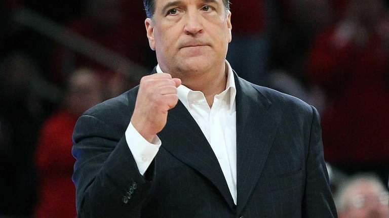 St. John's coach Steve Lavin gives a fist