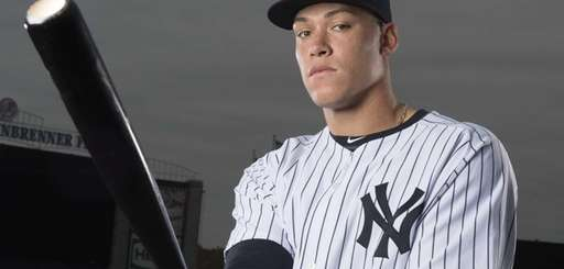 Aaron Judge poses at George Steinbrenner Field during