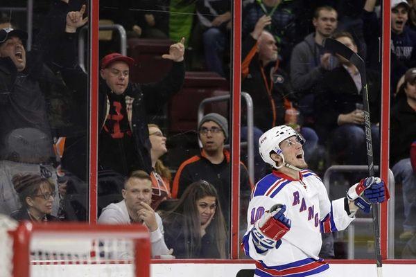 Rangers J.T. Miller celebrates after scoring a goal
