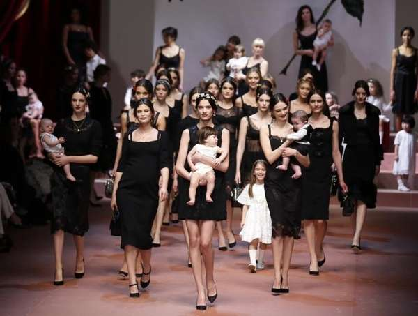 Models wear creations for Dolce & Gabbana women's