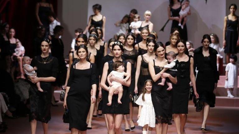 Models wear creations for Dolce & Gabbana women's