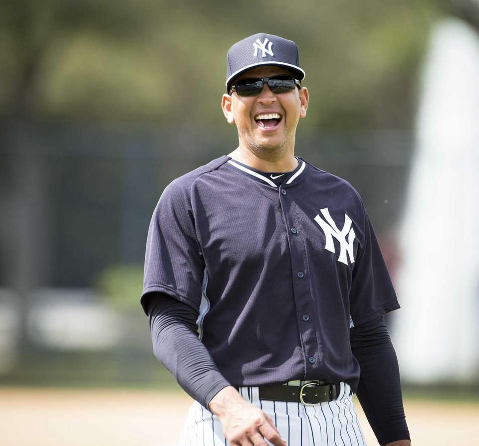 New York Yankees' Alex Rodriguez enjoys a funny