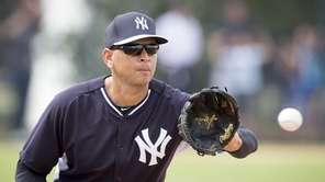 New York Yankees' Alex Rodriguez takes part in
